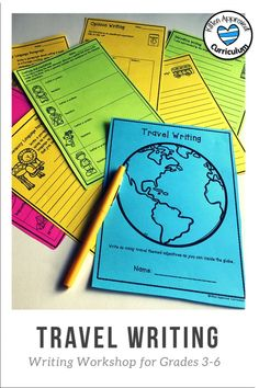 25 pages of travel themed writing activities and prompts to keep your students engaged! Practice sensory language, opinion writing, narrative writing, conflict and resolution, and descriptive details for an entire month with these fun pages. Perfect writing activities for 3rd, 4th, 5th, and 6th grade students! Click here to learn more Opinion Writing Prompts, Writing Strategies, Narrative Writing, Informational Writing, Writing Lessons, Writing Workshop, Writing Resources, Teaching Writing, Writing Activities