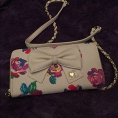 Betsy Johnson Clutch Never used Betsy Johnson Clutch with straps Betsey Johnson Bags