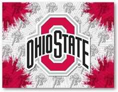 Ohio State Buckeyes D1 Printed Logo Canvas.  Visit SportsFansPlus.com for Details.