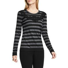 Women's Vince Camuto Lace Trim Stripe Sweater ($99) ❤ liked on Polyvore featuring tops, sweaters, rich black, striped crewneck sweater, stripe sweater, crew neck sweaters, lace sweater and stripe top