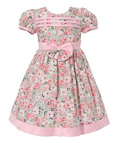 Pink Floral Bow Puff-Sleeve Dress