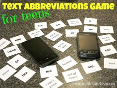 This free printable text abbreviations game is perfect for teens. Parents can play along with their teens and have a few chuckles at the silly answers.