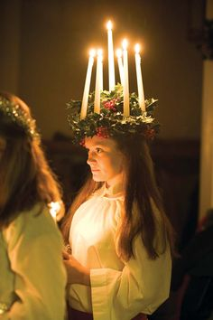 Lucia Day - She who brings light. A Swedish Christmas tradition Swedish Christmas, Scandinavian Christmas, Scandinavian Style, St Lucia Day, Lucia Light, Advent, Swedish Traditions, Festivals Around The World, Winter Solstice