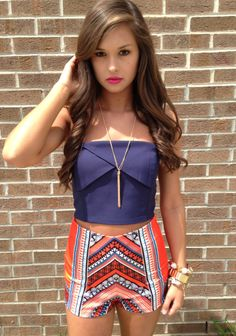 navy bustier  print shorts #swoonboutique
