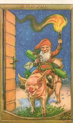 Merry Christmas, God JUL ... Antique Postcard. Curt Nyström,Swedist artist.