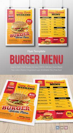 Menu Fast Food - Burger - Template by Menu Special Template File Psd files (front & back, dark & light).CMYK color mode 300 d Restaurant Flyer, Restaurant Menu Design, Food Menu Template, Menu Templates, Print Templates, Burger Menu, Burger Food, Burger Specials, Seafood Menu