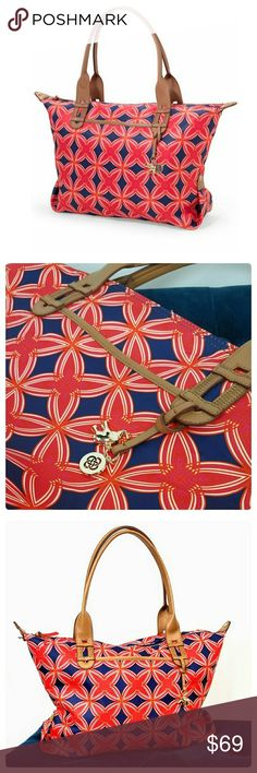 Stella & Dot How Does She Do it Bag Navy and red medallion pattern. Excellent pre-owned condition. Like new. Gorgeous and versatile. Can be used as a carry all or snap the sides to turn it into a satchel.  Love this bag. Stella & Dot Bags Totes