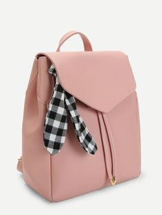 Shop Scarf Decorated PU Backpack at ROMWE, discover more fashion styles online. Cute Mini Backpacks, Stylish Backpacks, Girl Backpacks, School Backpacks, Fashion Handbags, Purses And Handbags, Fashion Bags, Fashion Backpack, Cheap Handbags