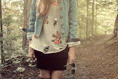 #denim #jacket #floral