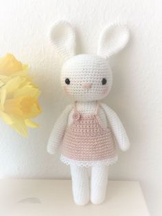 Baby Knitting Patterns Toys Beautiful Amigurumi animal rabbit with summer dress – crocheted soft cuddly toy …Lovely amigurumi animal bunny girl with lovely dress, hand crochet soft cuddly toy, perfect soft cuddly toy for your child Little bunnies with Crochet Bunny Pattern, Crochet Rabbit, Crochet Patterns Amigurumi, Amigurumi Doll, Crochet Baby Toys, Easter Crochet, Cute Crochet, Knitted Dolls, Crochet Dolls