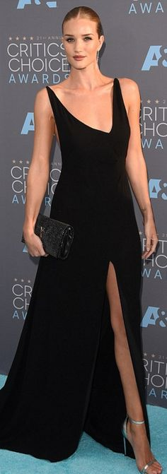 Rosie Huntington-Whiteley in Dress, shoes, and purse – Saint Laurent  Earrings – Anita Ko