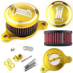 Air Cleaner Intake Filter System For Harley Davidson Sportster 883 1200 - Golden #Unbranded