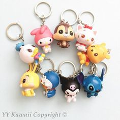 Cute keychain including melody, winnie, kuromi, stitch and more - decoden bargain NEW