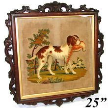 Antique Victorian Era Hunt Themed Tapestry: Dog & Game Bird in Carved Wood Frame