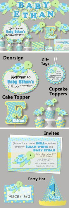 Boy Turtle Baby Shower or Birthday Party Decorations - Invitations, Banner, Favor Tags, Cupcake Toppers, Cake Topper, Party hat - #bcpaperdesigns