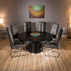 Large Round Black Oak Dining Table + 6 Extra Large comfy Black Chairs  LIVING ROOM DINING ROOM Dining sets High back chair Back support. - £1999
