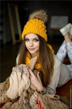Купить Шапка Classik - однотонный, оранжевый, шапка вязаная, шапка женская, шапка, шапка зимняя