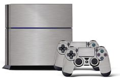 PS4 Console Designer Skin for Sony PlayStation 4 System plus Two2 Decals for PS4 Dualshock Controller Steel * Click image to review more details.Note:It is affiliate link to Amazon.