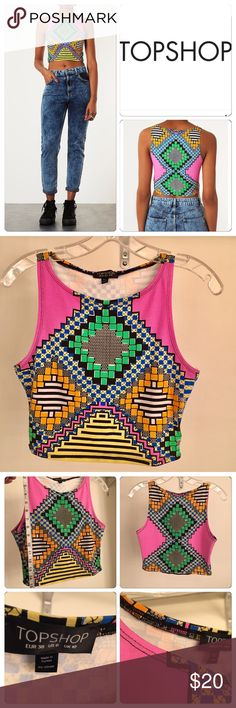 TOPSHOP -Neon Printed Crop Tank - sz. 6 This Top Shop Neon Printed Crop Top is gently loved and perfect for a day or night 🎉 party! BUNDLE this top with the Vintage High Waisted 👖 in my closet for additional savings! Topshop Tops Crop Tops