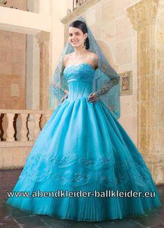 Blaues Cinderella Kleid Ballkleid Brautkleid auch mit Schleier