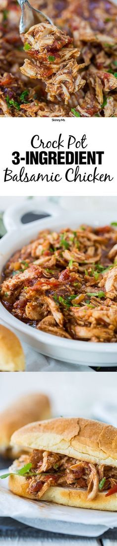 Crockpot 3-Ingredient Balsamic Chicken Recipe! This recipe is awesome on a sandwich, wrap, or on salads.