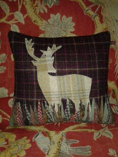 Large handmade Stag cushion by Countryhouseinterior on Etsy, £55.00