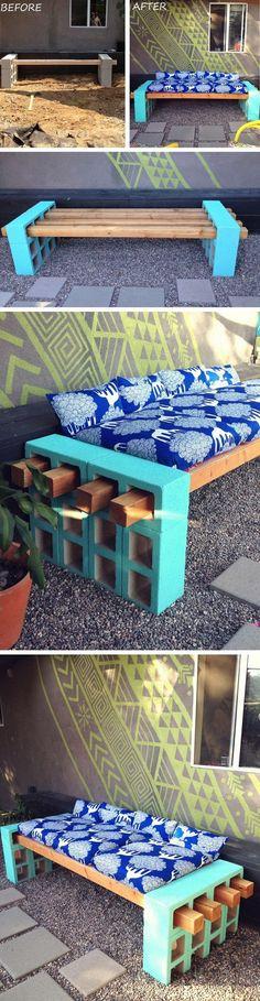 DIY Cement Block Bench: