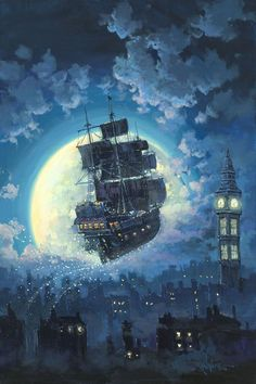 "Disney Fine Art: ""Sailing Into the Moon"" by Rodel Gonzalez:)"
