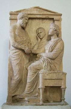Grave relief of Thraseas and Euandria from Athens, 375 - 350 BC, Pergamon Museum (Berlin) Classical Greece, Classical Period, Ancient History, Art History, Pergamon Museum, Ancient Greek Sculpture, Classical Mythology, Berlin, Roman Art