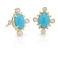 Blue Nile Sunburst Turquoise and White Sapphire Earrings ($430) ❤ liked on Polyvore featuring jewelry, earrings, blue turquoise earrings, white sapphire earrings, cabochon earrings, stud earrings and 14k earrings