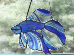 Stunning Betta Fish Stained Glass Suncatcher by connysstainedglass