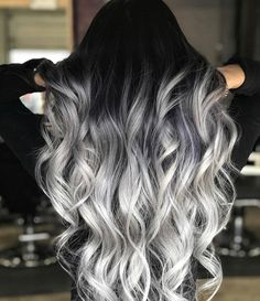 Black to Grey to Silver Ombre Hair me for Cute Silver Inspiration!Black to Grey to Silver Ombre Hair Black to Grey to Silver Ombre Hair me for Cute Silver Inspiration!Black to Grey to Silver Ombre Hair Silver Ombre Hair, Ombre Hair Color, Cool Hair Color, White Ombre Hair, Black And Silver Hair, Black To Grey Ombre Hair, Gray Ombre, Hair Color Black, Black To Blonde Hair