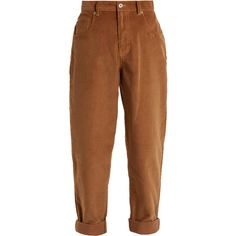 Miu Miu Mid-rise cotton-corduroy boyfriend trousers ($895) ❤ liked on Polyvore featuring pants, bottoms, trousers, calças, jeans, brown, slim fit pants, brown slim pants, corduroy pants and retro pants