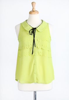 Seascape Scalloped Chartreuse Top