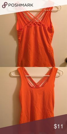 Fabletics orange strappy workout tank Like new! Great work a solid color sports bra underneath. Fabletics Tops Tank Tops