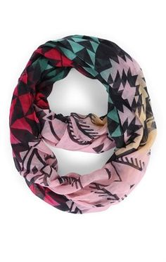 Deb Shops Multicolor Woven Scarf with Mixed Prints $6.00