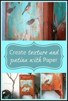 The Turquoise Iris ~ Vintage Modern Hand Painted Furniture: Persimmon Rustic Boho Vintage Cabinet Makeover ~ A MUST SEE!