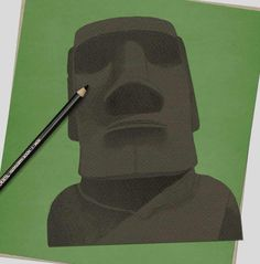 How to draw… Easter Island heads | Children's books | The Guardian Sharp Pencils, Draw Two, Deep Set Eyes, Book Sites, Easter Island, White Pencil, Head & Shoulders, Pencil Illustration, Paper Texture