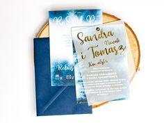 Niebieskie Zaproszenie ślubne z pozłacaną kalką. Znajdziesz to zaproszenie na Naszej stronie! Tableware, Dinnerware, Tablewares, Dishes, Place Settings