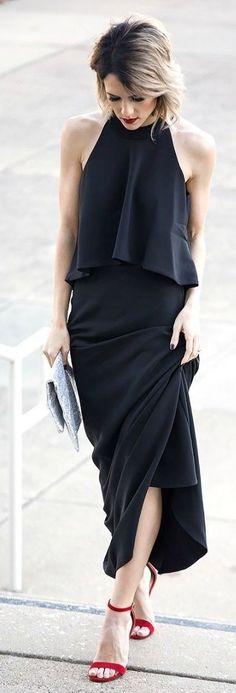 Black Halter Maxi Dress