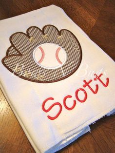 Baseball Glove Applique Burp Cloth for Boys With Monogram - Great Baby Gift $12...... I shed this w a football