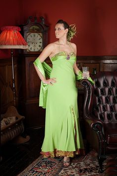 Lime green and cerise make a bold statement here in this dress available from www.exclusivelyyours.co, in Scotland