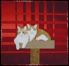 """In Memory of Rusty and Lucas"", ~24 x 25"",  by Jodi Scaltreto (New Hampshire).  A thread painted quilt."