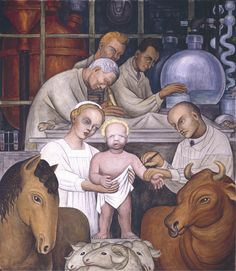 """Detroit Industry,"""" north wall (detail), Diego Rivera, 1932-33, fresco (Vaccination). Detroit Institute of Arts"""