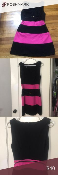 International Concepts Pink and Black Dress Professional dress perfect for work. Includes size 6 think black belt with gold colored buckle INC International Concepts Dresses