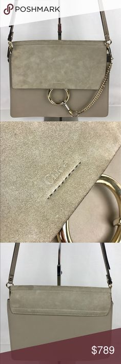 """Chloe Faye Medium Leather Shoulder Bag Authentic. Gently used. Good condition inside and out with a few minor marks on the suede   A flawless leather shoulder bag in a clean, elegant silhouette features a soft suede flap and a spacious interior. A bold, polished ring and pendant chain lend subtle glam-rock flair to the go-anywhere look. 12 ½""""W x 10""""H x 1 ½""""D. 14"""" - 19"""" strap drop. Style 3S1126-H2O. RB721  Thank you for your interest!  PLEASE - NO TRADES / NO LOW BALL OFFERS / NO OFFERS IN…"""