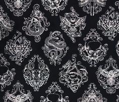 Toile Noir Dark fabric by urban_threads on Spoonflower - custom fabric