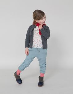 Floral blouse, blue pants and grey cardigan - Caramel Baby & Child
