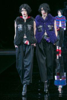 Knit furry vests at Emporio Armani. (Photo: Nowfashion)
