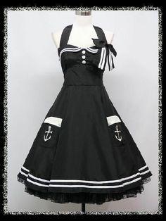 dress190 BLACK HALTER 50's PINUP ROCKABILLY VINTAGE SWING PROM PARTY DRESS 14-16